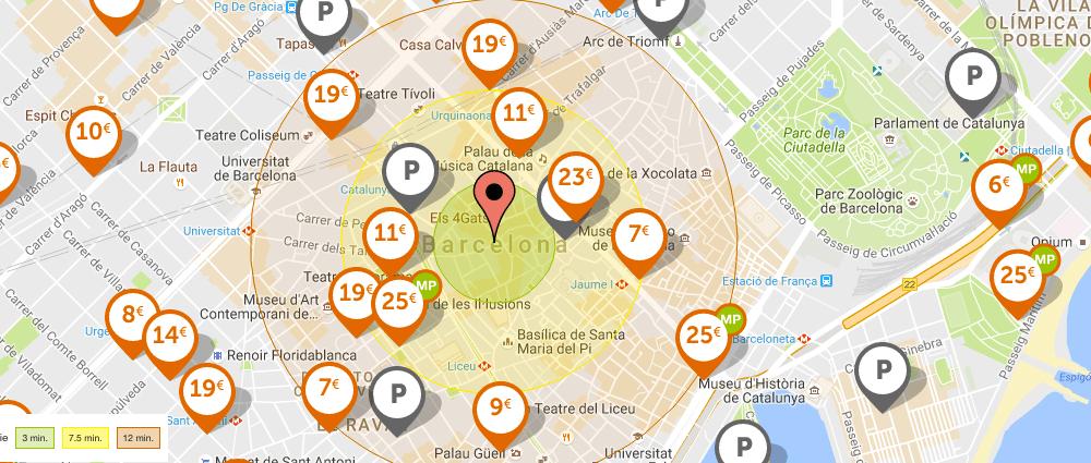 karte Parkplätzen Barcelona