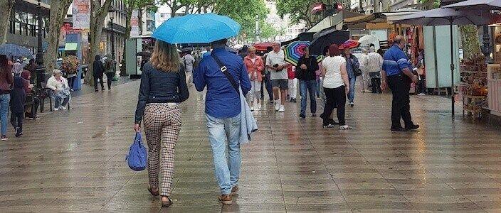 Regnerischen Tag in Barcelona