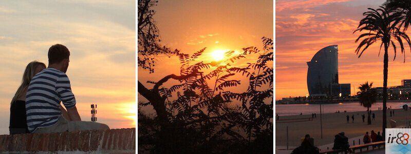 Sonnenuntergang und Abenddämmerung in Barcelona