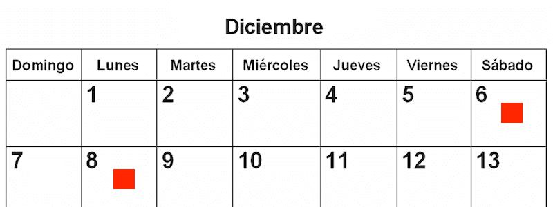 6 und 8 Dezember