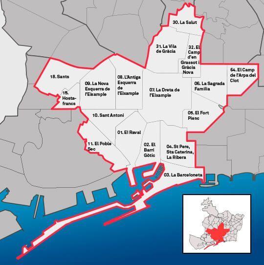 Karte Barcelona Geschäfte öffnen